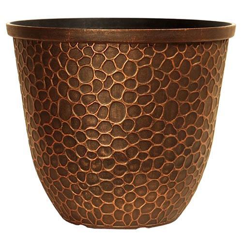 Hammered Round Planter 30cm (12in) Gold Tone