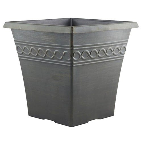 Infinity Square Planter 25cm (10in) Black Brushed Rust