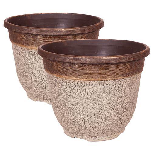 Pair of Crackle Round Planters 30cm (12in) Ceramic White