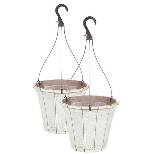 Pair of Callista Hanging Baskets 25cm (10in) Vintage Rust