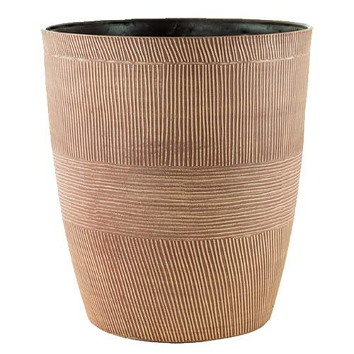 Pair of Sand Thatched Planters 25cm (10in) Caramel