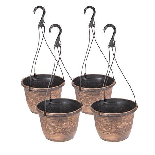 Set of 4Acorn Hanging Baskets 25cm (10in)Copper-Tone