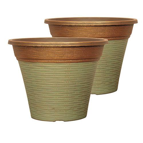 Pair of Isabella Round Planters 30cm (12in) Patina Fusion