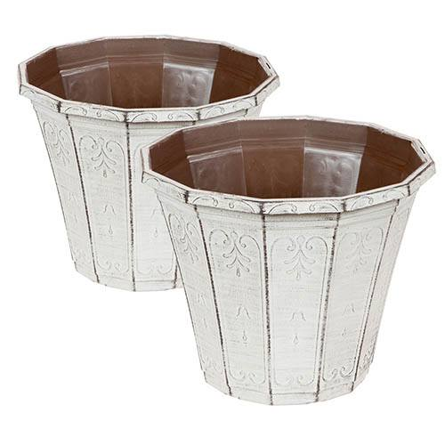 Set of 4 Callista Round Planters and Baskets 25-30cm (10-12in) Vintage Rust