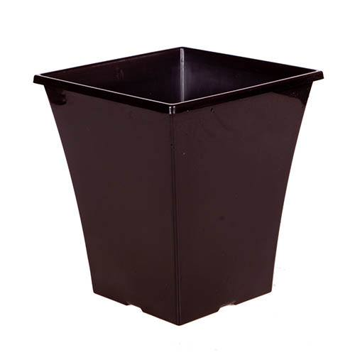 Riviera Square Fluted Planter 25cm (10in) Gloss Black
