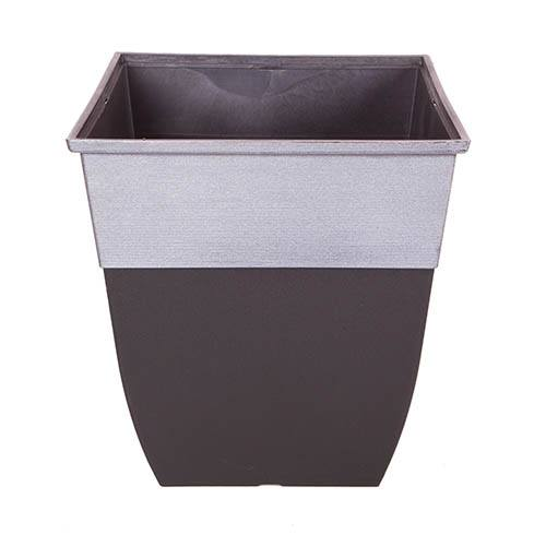 Hendrix Tall Square Planter 43cm (17in) diameter, Pewter Top