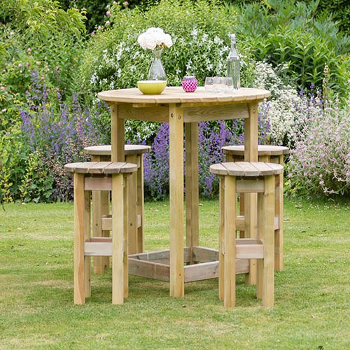 Bahama Large Round Table & 4 Stool Set