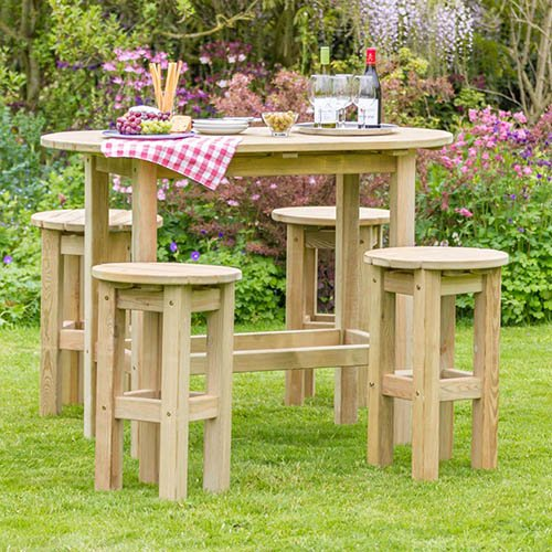 Bahama Oval Table & 4 Stool set