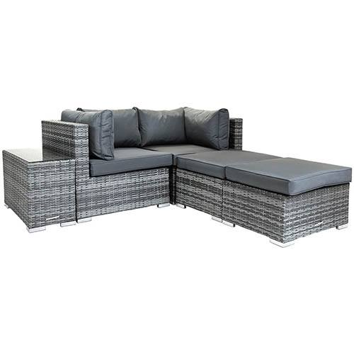 Charles Bentley Multifunctional Contemporary Lounge Set - Grey Rattan/ Grey Cushion