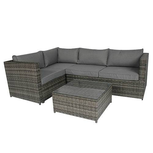 Rattan Corner Sofa With Coffee Table - Grey Rattan/ Grey Cushion