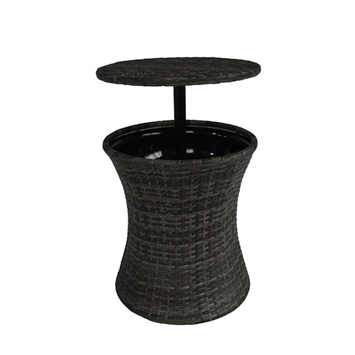 Charles Bentley Rattan Ice Bucket & Table - Grey