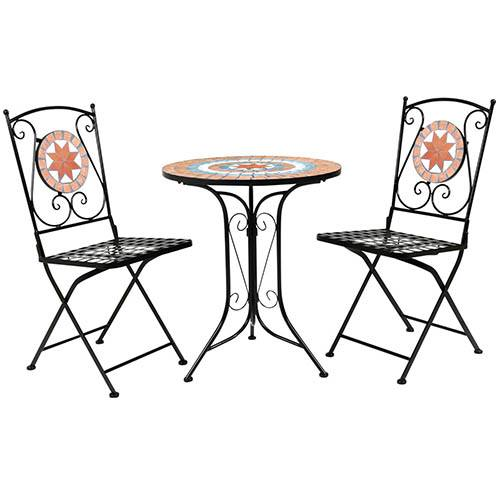 Charles Bentley Terracotta Flower Mosaic 3 Piece Bistro Set Table & 2 Chairs