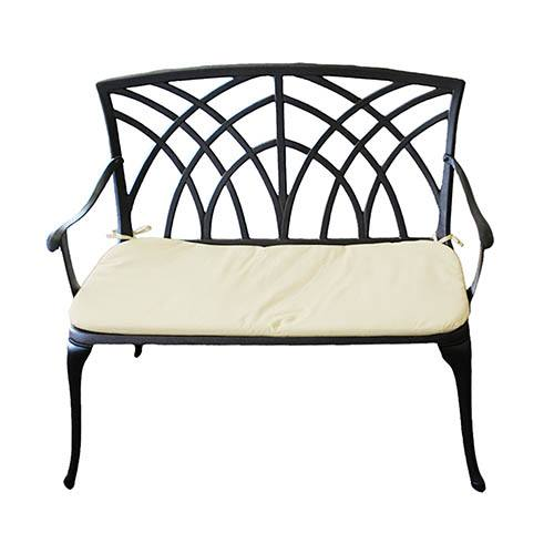 Charles Bentley Cast Aluminium 2 Seater Garden Bench Black with Cream Cushion
