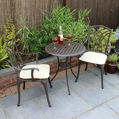Charles Bentley Cast Aluminium Bistro Set Table & 2 Arm Chairs in Brown with Cream Cushions