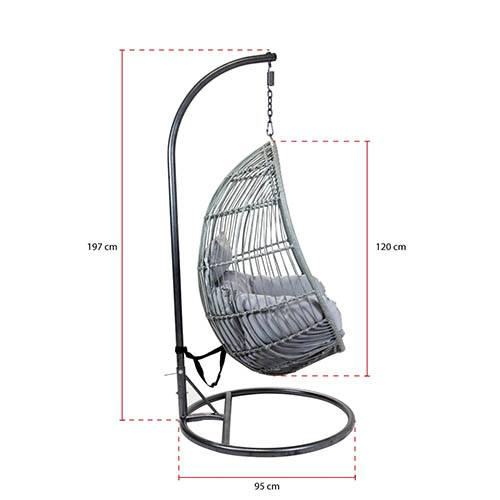 Rattan Hanging Egg Shaped Swing Chair Grey with Grey Cushion