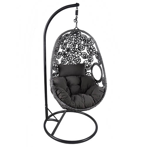 Charles Bentley Hanging Rattan Swing Chair Floral Design with Cushion - Grey