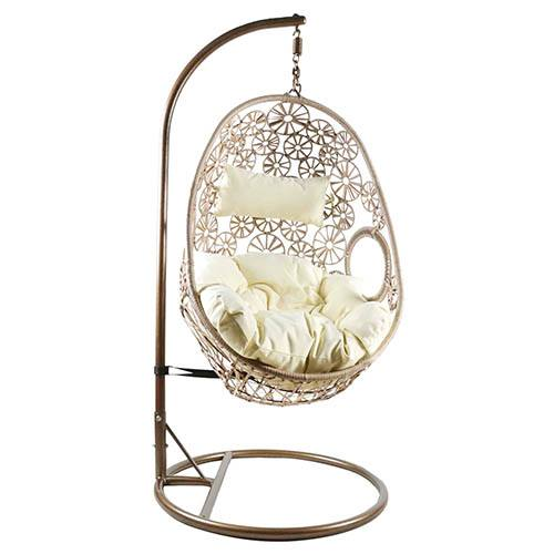 Charles Bentley Hanging Rattan Swing Chair Floral Design with Cushion - Natural Sand