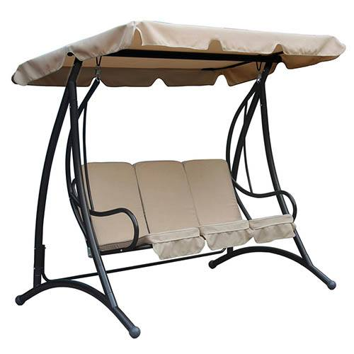 Charles Bentley 3 Seater Premium Swing Seat with Canopy - Beige