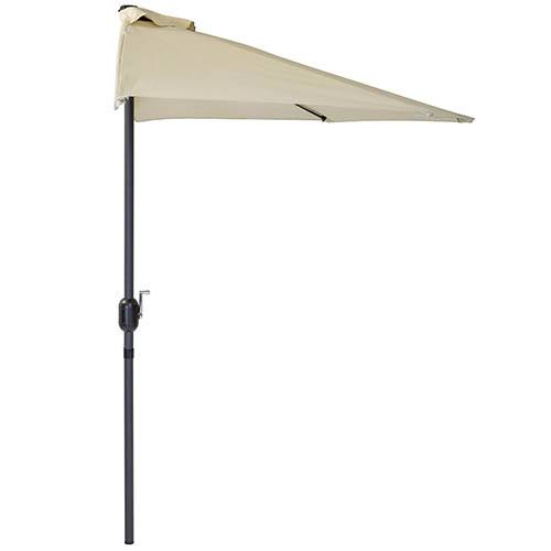 Charles Bentley Garden 2.7m Half Balcony Parasol With Crank Function - Beige
