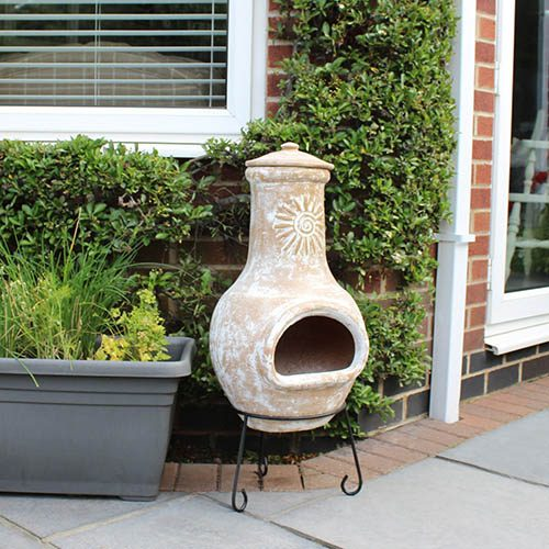 Charles Bentley Medium Natural Clay Chimenea Sun Design