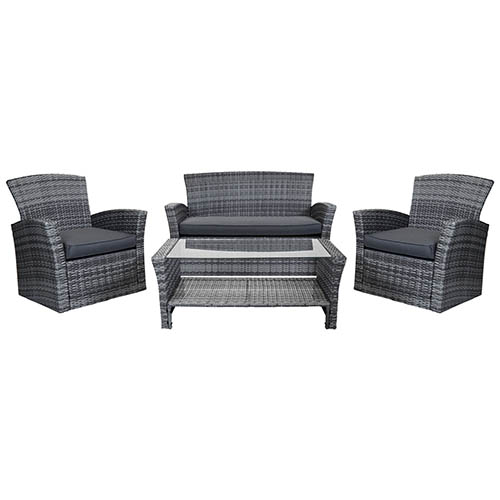 4 Piece Rattan Furniture Set - Grey Rattan/ Grey Cushion