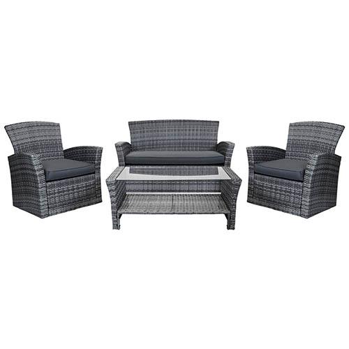 Charles Bentley 4 Piece Rattan Furniture Set - Grey Rattan/ Grey Cushion