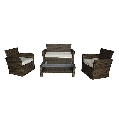 4 Piece Rattan Furniture Set - Natural Rattan/ Cream Cushion