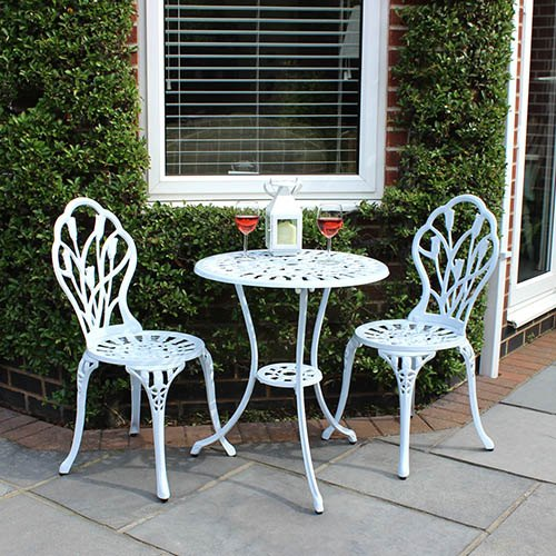 Charles Bentley Cast Aluminium Tulip Bistro Set Table & 2 Chairs - White