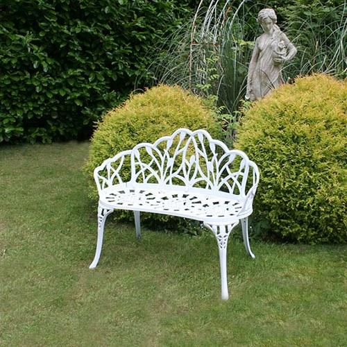 Cast Aluminium Tulip 2 Seater Garden Bench - White