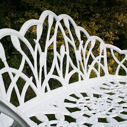 Charles Bentley Cast Aluminium Tulip 2 Seater Garden Bench - White