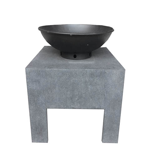 Charles Bentley Metal Fire Bowl With Square Stand Enamel Coated