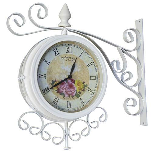 Charles Bentley Cream Vintage Double Sided Metal Bracket Wall Clock