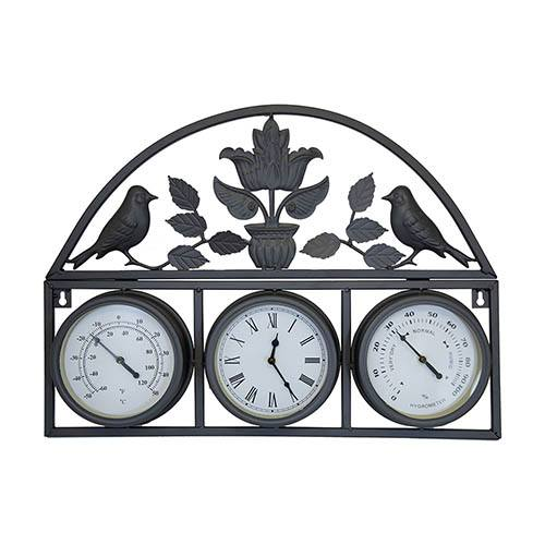 Charles Bentley Wall Clock With Thermometer & Hygrometer