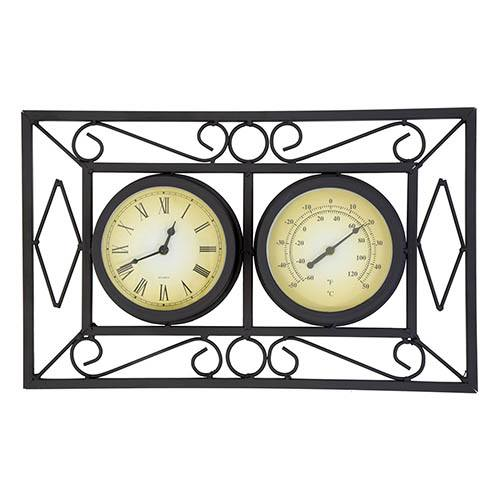 Charles Bentley Black Ornate Metal Wall Mounted Clock & Thermometer