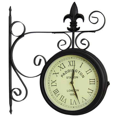 Charles Bentley Black Paddington Double Sided Metal Wall Clock