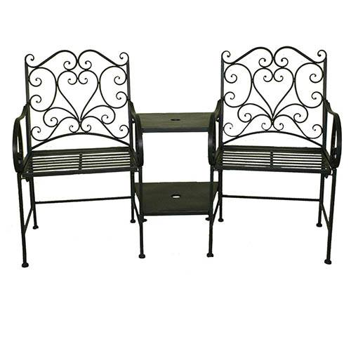 Bentley Garden Heart-Shaped Wrought Iron Companion Seat-Black