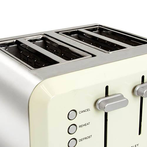 4 Slice Cream Toaster Stainless Steel Browning Control