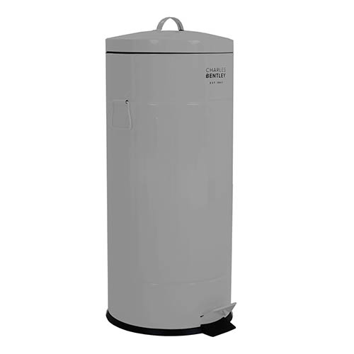 30L Retro Steel Round Kitchen Pedal Bin - Grey