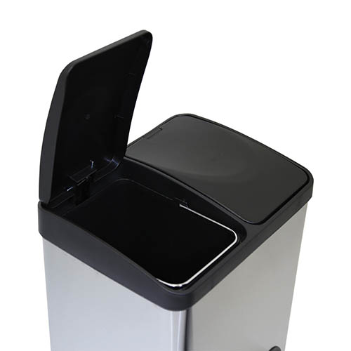 30L Stainless Steel Kitchen Recycle Pedal Bin 2 Compartments