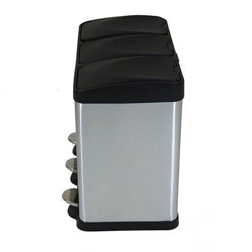 45L Stainless Steel Kitchen Recycle Pedal Bin 3 Compartments