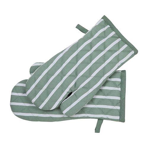 Oven Glove 2 Pk - Sage Stripe