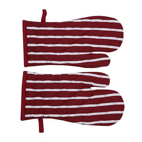 Oven Glove 2 Pk - Burgundy Stripe