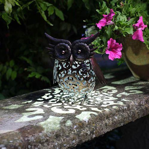 Metal Scroll Owl Light