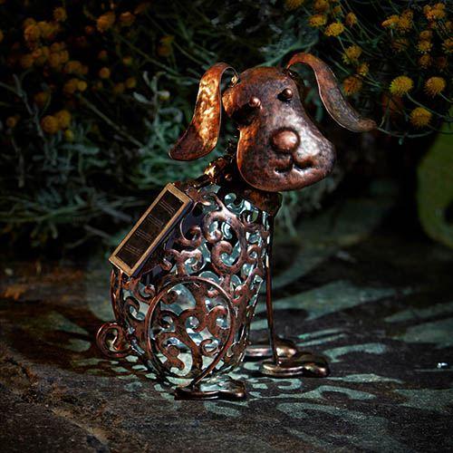 Metal Solar Silhouette Dog Light