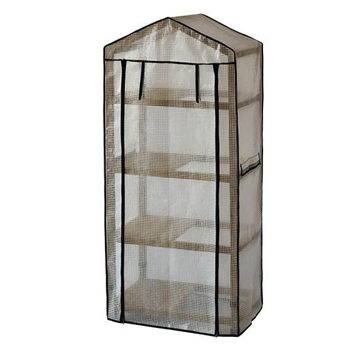 Wooden Greenhouse Nursery & PE Cover - Natural