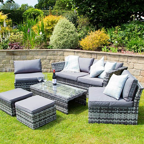 St Tropez Rattan Lounge Set - Grey