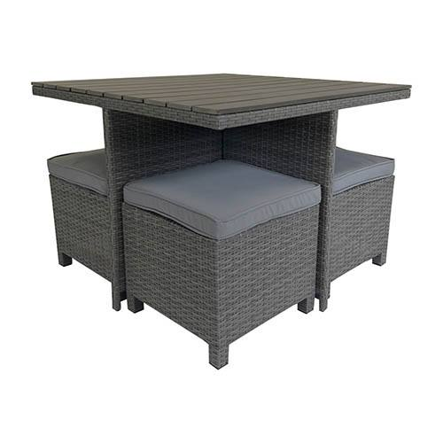 Rattan & Polywood Cube Dining Set