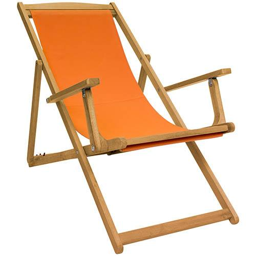 FSC Eucalyptus Wooden Deck Chair - Orange