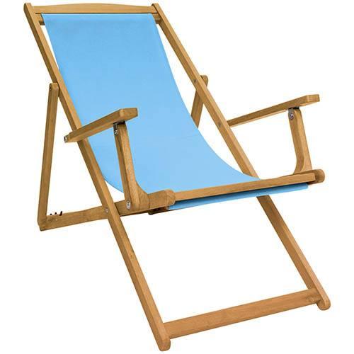 FSC Eucalyptus Wooden Deck Chair - Teal