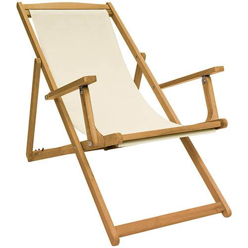 FSC Eucalyptus Wooden Deck Chair - Cream